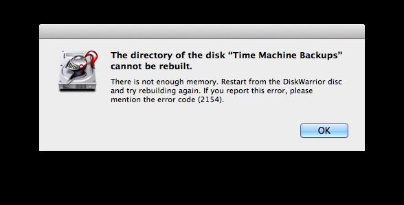 DiskWarrior not enough memory